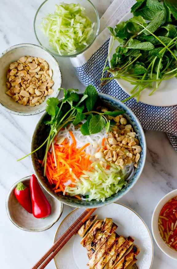 Vietnamese Chicken Vermicelli: make the nuoc cham, but don't bother with the whole chicken marinade thing. Just use grilled chicken.