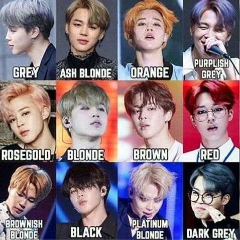 Different shades of park jimin's hair