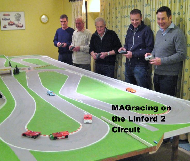 Up to 15 cars can be raced for up to 20 minutes on one battery charge.   Cars are radio controlled and steering is assisted by a wire embedded inthe track surface. See www.magracing.co.uk