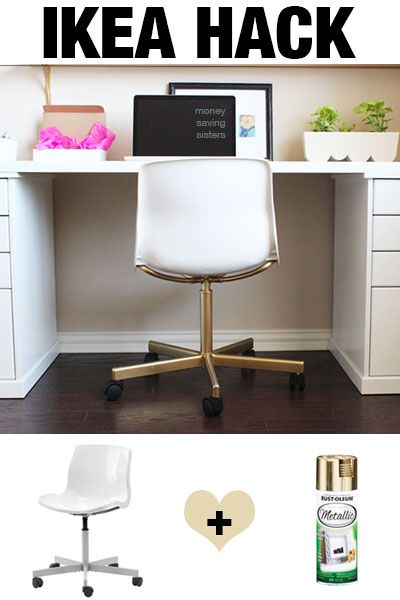 Turn this $20 Ikea chair into a designer piece with a can of gold spray praint. I love Ikea Hacks!