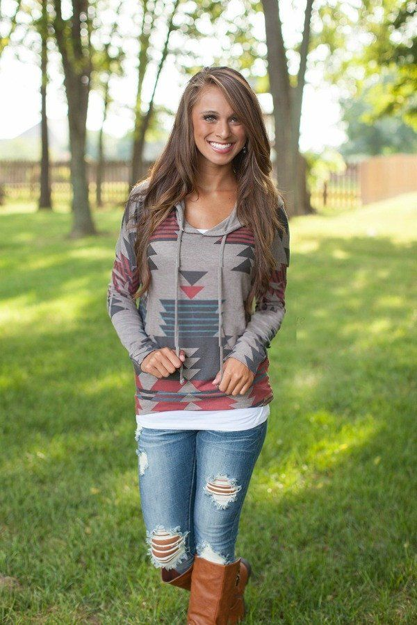 """Super Comfy and looks great the Mocha Aztec hoodie has a simple style that will look great! Available in Size S-L Bust: S-34"""", M-36,L-38"""