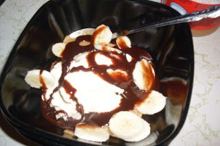 Ice Cream Sundae with Homemade Chocolate Syrup, Peanut Butter and Sliced Bananas for Sunday Supper Suggestion.
