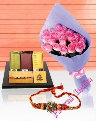 Order Raksha Bandhan Gifts Hampers, Flowers, Flower Bouquets, Chocolate Cakes and Wines