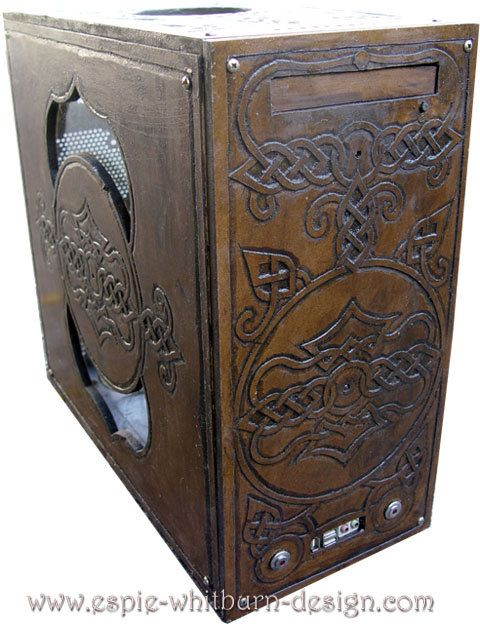 Hand carved wood computer case by BookOfShadowsStore on Etsy.