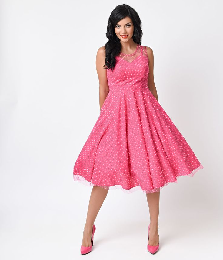 Hot Pink Polka Dot Prom Dress
