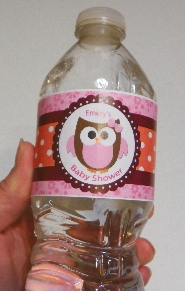 Custom Water Bottle Label -Pink Orange Baby Owl Party or Baby Shower Set of 20. $12.00, via Etsy.