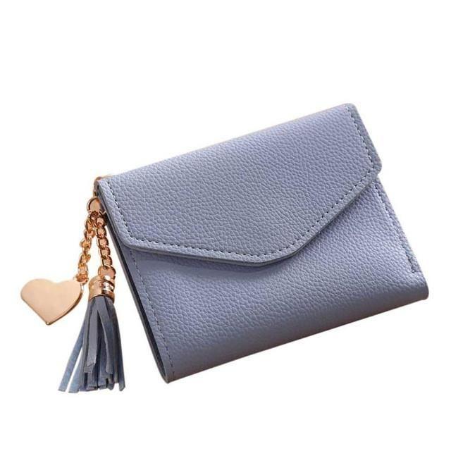 Women small wallets tassel pendant Simple Short Wallet Card Holders