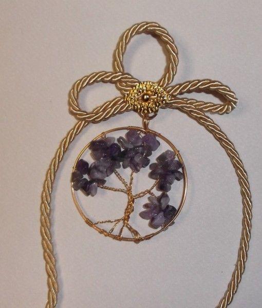 γουρι δεντρο ζωης επιχρυσο 20Χ6 -tree of life gold plated metal amethyst stone