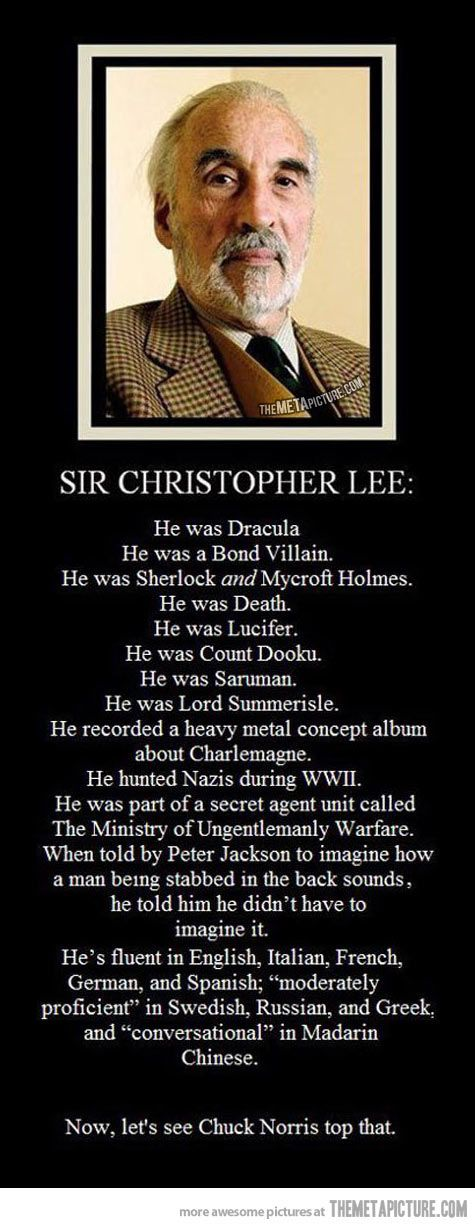 Christopher Lee. I'm highly interested in the heavy metal album.  It's just so random.