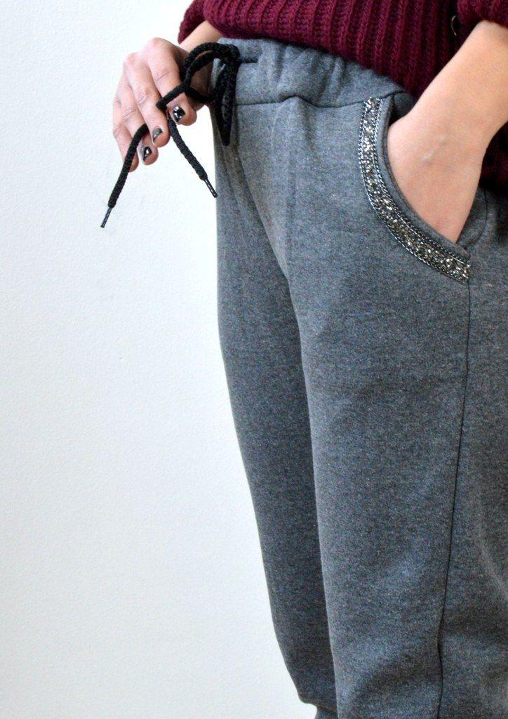 Παντελόνι Φόρμα με Χάντρες στις Τσέπες - ΓΚΡΙ | shop online: www.musitsa.com