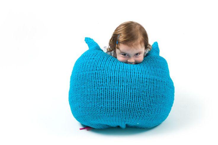 Pletené a háčkované : Pletený sedací vak malý tyrkysový