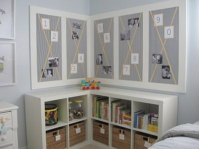 smart use of IKEA storage. we have this in our sunroom/playroom, but it doesn't look nearly so stylish.