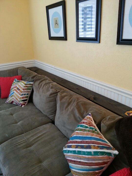 Shelf behind couch...8 inches wide by 10 feet long ...