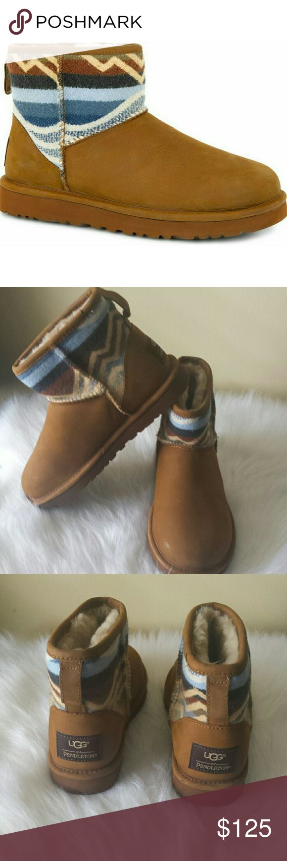 UGG BOOTS NWOB NWOT UGG & PENDELTON ANKLE BOOTS  Cocoa Tan Multi Color Blue  Leather Ugg Shoes Winter & Rain Boots