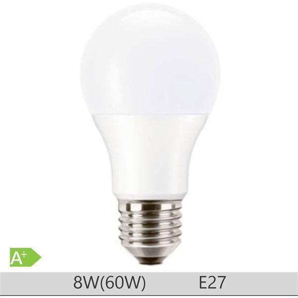 Bec LED PILA 8W E27 forma clasica A60, lumina calda http://www.etbm.ro/becuri-led