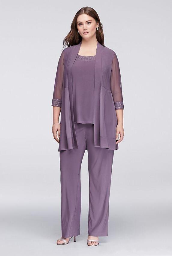 9d3fb0c637e 3 Pieces Mother Of The Bride Pant Suits Chiffon Sequins Plus Size Groom  Dresses Pant Suits Bride