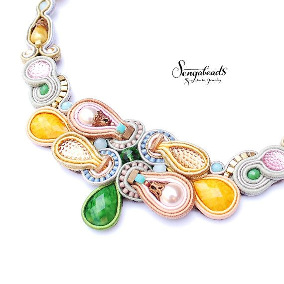 Hand embroidered colourful soutache necklace. OOAK by Sengabeads