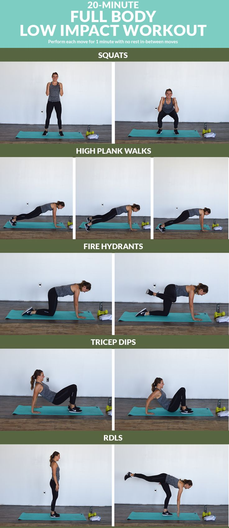 20-Minute Full Body Low Impact Workout - Get your sweat on and strengthen your muscles with these 20 low intensity moves.