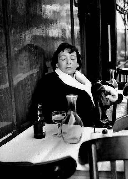 Robert Doisneau - Marguerite Duras In Saint-Germain des Prés, Paris, 1955.