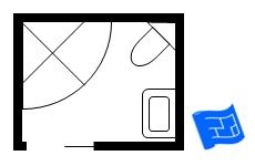 Small 6ft5in x 5ft 5in bathroom with a corner shower and corner toilet. Click through to the website for more information on small bathroom floor plans.