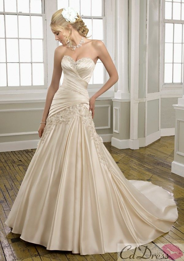 Lustrous Satin with Embroidery Wedding Dress