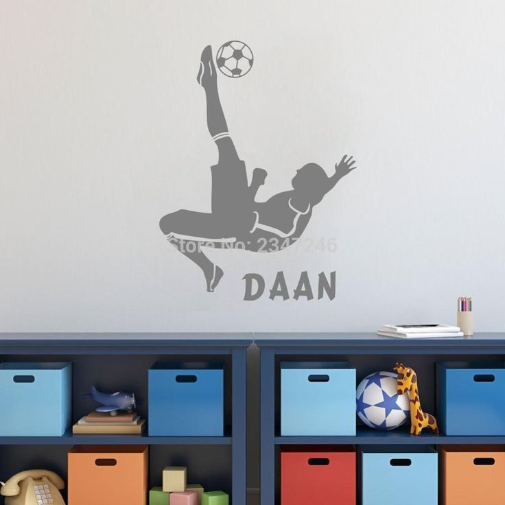 Overhead Kick Custom Name Wall Decal Football Action Soccer Movement Decorative Vinyl Sticker for Kids Boys Room