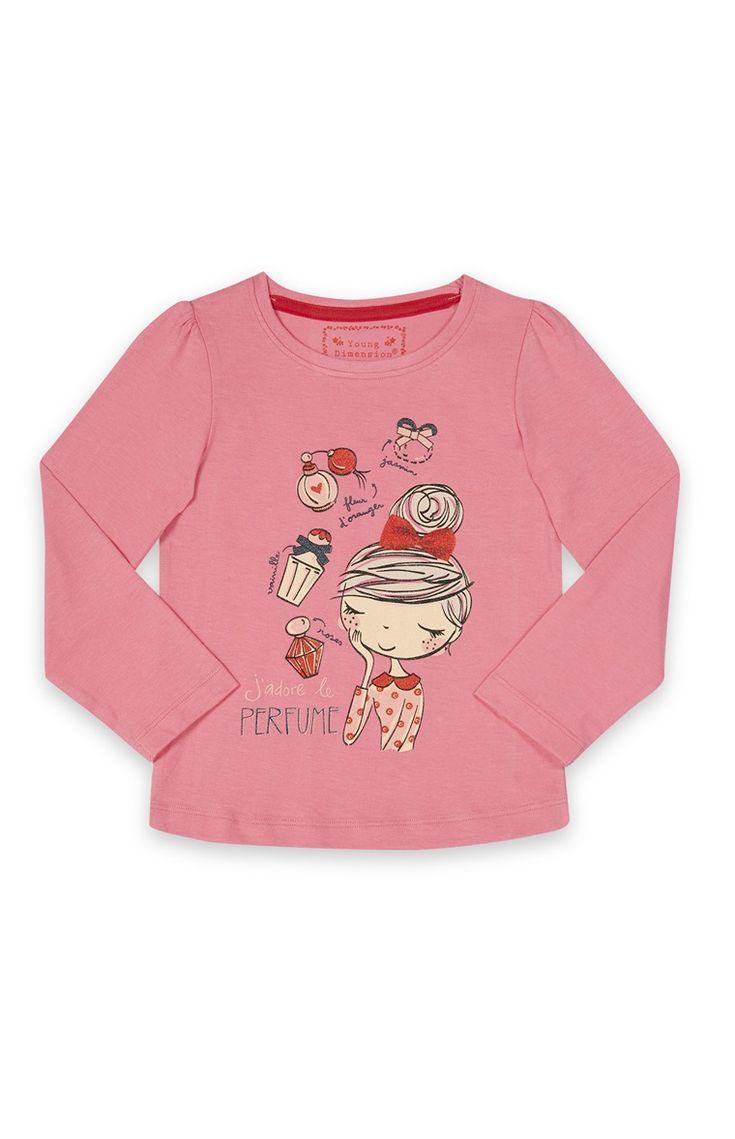 Primark - Roze shirt met 'parfum'-print
