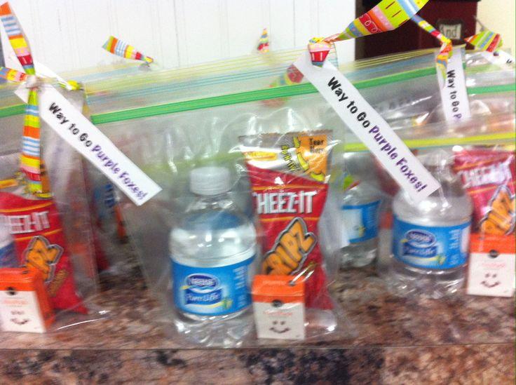 Easy soccer snack: water, raisins, crackers.