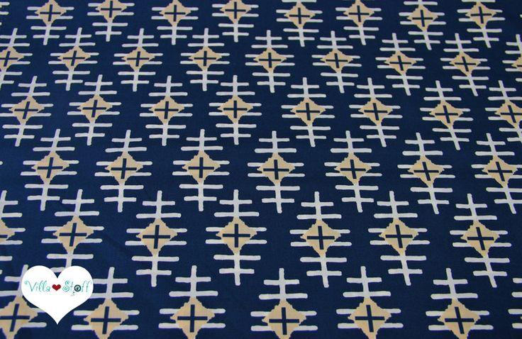 Bio-Stoffe - BOUND ethno Stoff ▲Makrame IKAT blau Baumwollstoff - ein Designerstück von naeh-was bei DaWanda