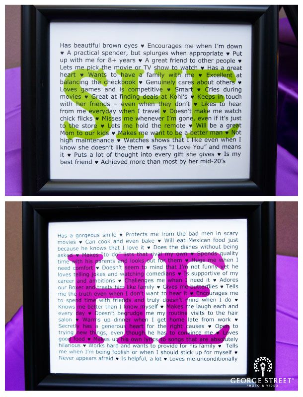 cute! groom writes what he loves about the bride. bride writes what she loves about the groom. displayed near guest book