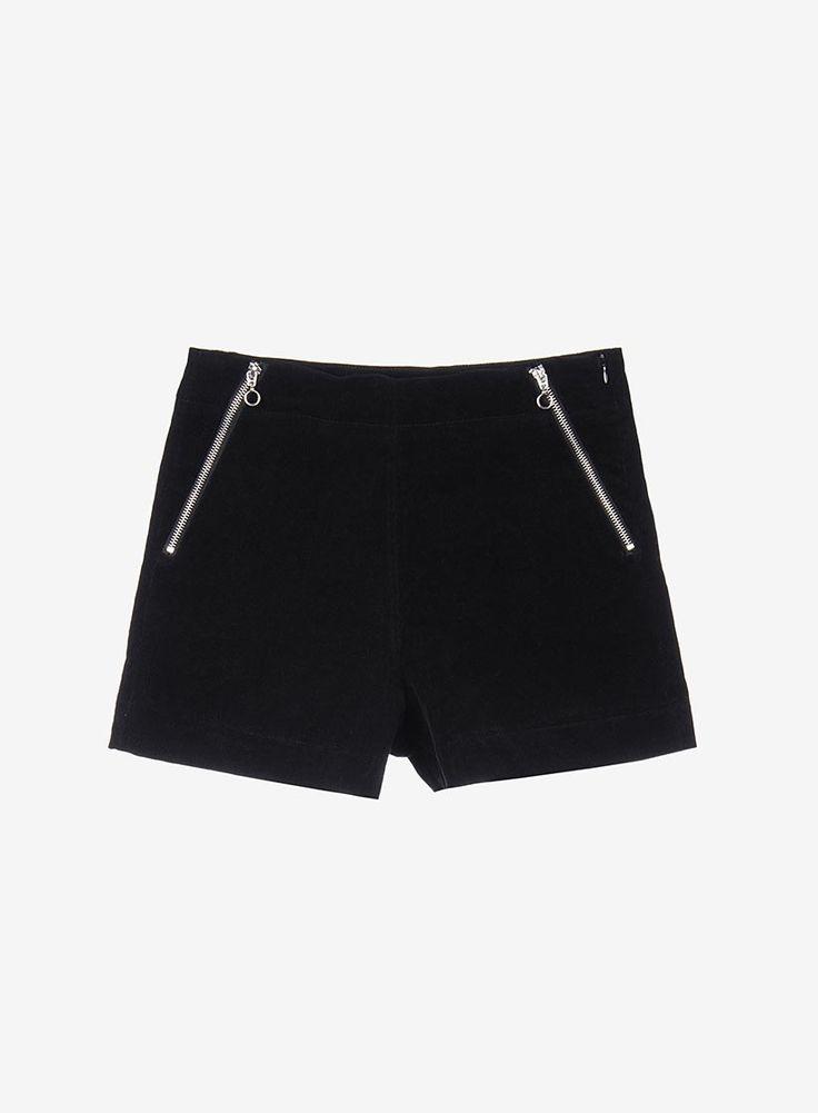 Corduroy shorts with decorative zipper detail