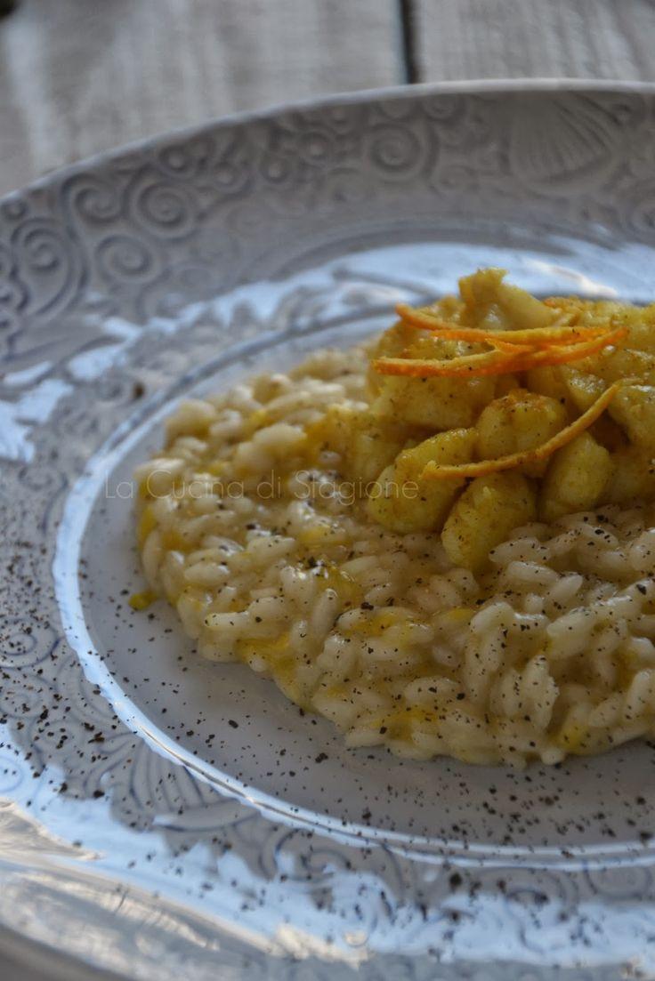 Risotto agli agrumi, polvere di capperi e rana pescatrice al curry