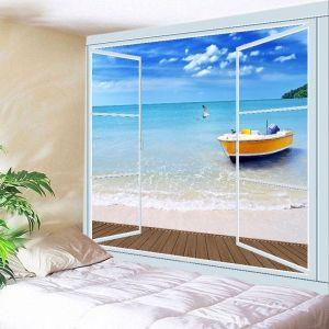 Bateau de plage Boîte de fenêtre Tapisserie d'imprimerie Décoration d'art murale suspendue