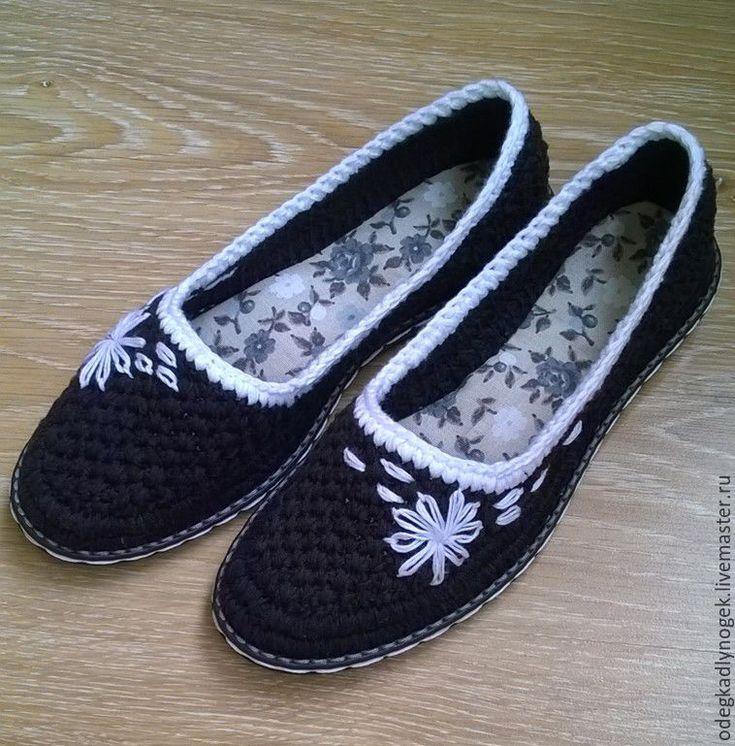 Купить Чёрно - белое - черный, балетки летние, обувь ручной работы, летняя вязаная обувь