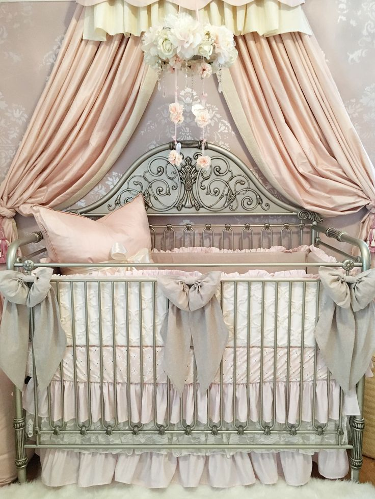 Project Nursery - Feminine Crib with Linen and Lace Crib Bedding