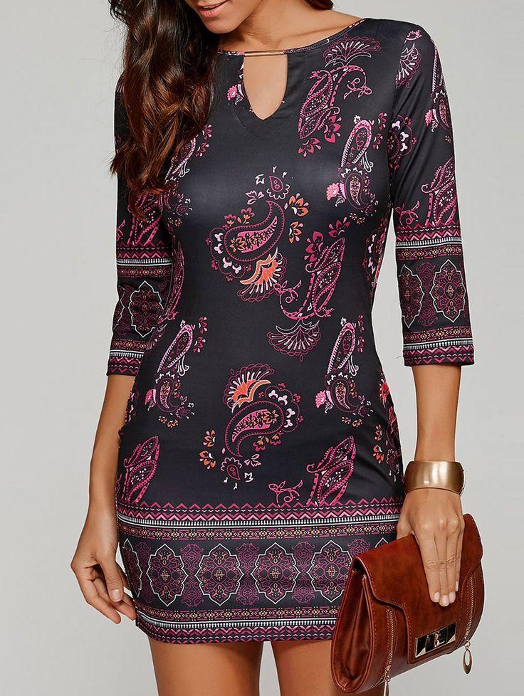 Keyhole Neck Paisley Pattern Dress