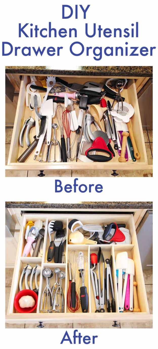 Best Organizing Ideas for the New Year - DIY Kitchen Utensil Drawer Organizer - Resolutions for Getting Organized - DIY Organizing Projects for Home, Bedroom, Closet, Bath and Kitchen - Easy Ways to Organize Shoes, Clutter, Desk and Closets - DIY Projects and Crafts for Women and Men http://diyjoy.com/best-organizing-ideas