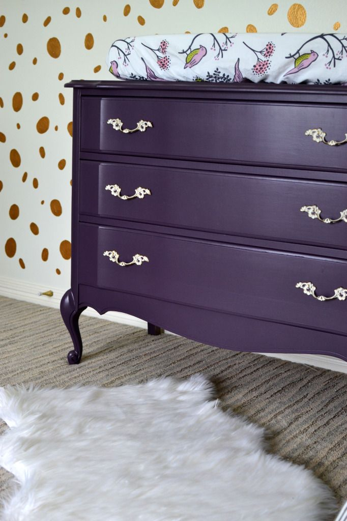 Love this deep purple painted vintage dresser/changing table!