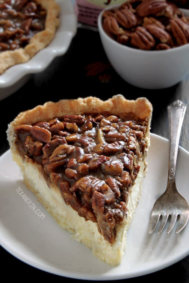 This caramel pecan cheesecake pie has a layer of caramel pecans over a cream cheese filling. With gluten-free, whole grain and all-purpose flour options. Perfect for Thanksgiving and Christmas!