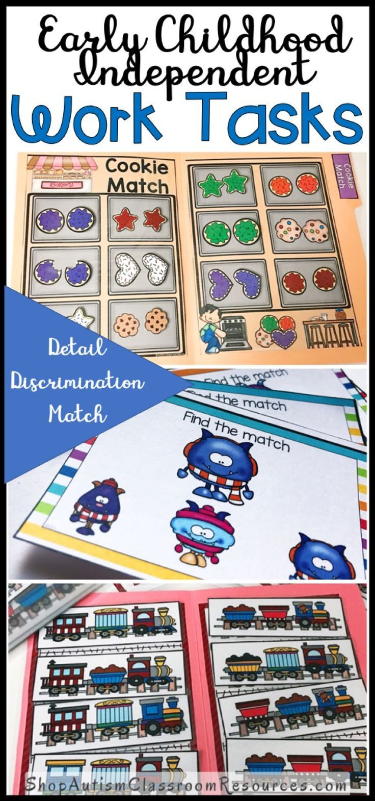 You can never have too many independent work tasks If you are looking for work that challenges your early learners while still being simple enough to do independently, you will love these task boxes. Students have to pay attention to detail and multiple characteristics to get the match right. Great for kindergarten, preschool or any early childhood setting as well as for special education independent work. Includes task cards and file folders so you can switch it up.