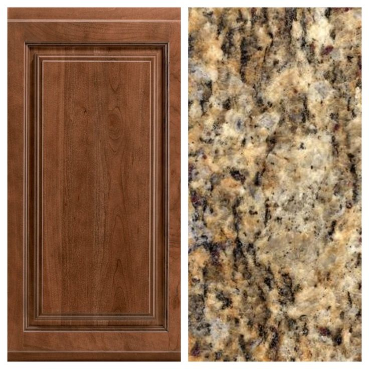 After MUCH back and forth and flip flopping, this is my final decision for the kitchen- Timberlake Wyoming Square Cherry Spice cabinets and Santa Cecilia granite with brushed nickel hardware.