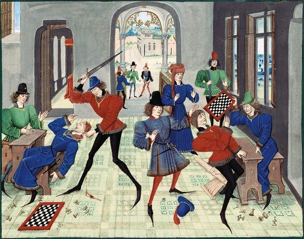 """Medieval chess riot,  Renaut de Montauban (circa 1462-70)   """"Partie d'échecs dégénérant en assassinat"""""""