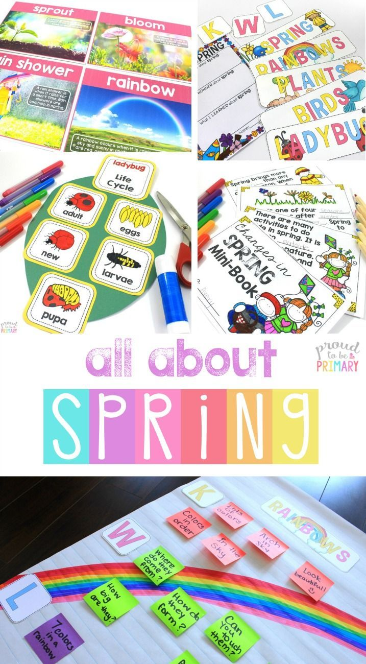 All About Spring science and non-fiction ELA activities to teach all about spring. Teach a labeled diagram of a rainbow, bird, and plant, research and write a report about spring, the life cycle of a ladybug, compare and contrast winter and spring, plants can/have/are, fact posters and question sheets, spring science experiments, and more!