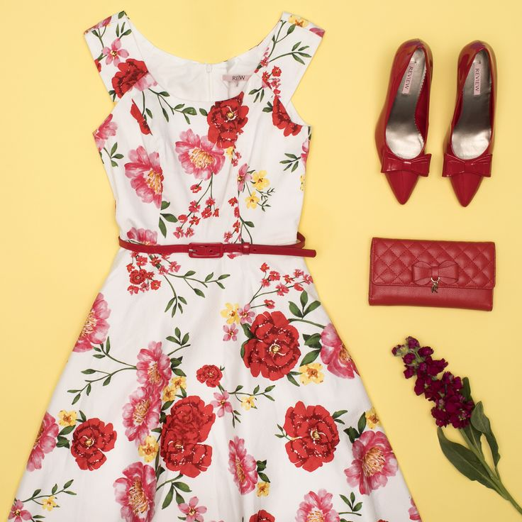 Summer Meadows Dress | White And Multi | Dress  Minnie Pump/Heel | Red | Shoe