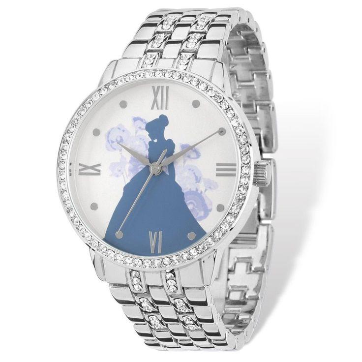 Disney Stainless Steel Women's Cinderella Silhouette Design Silver-tone Watch