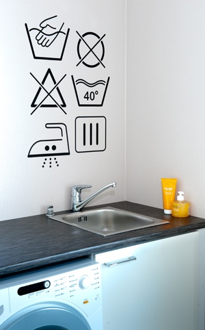 Nice idea for the laundry wall and a  safe washing machine valve by Oras.