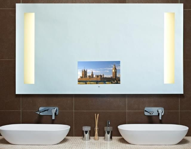 the boston mirror from bagno design has a 19u201d tv built in led lights