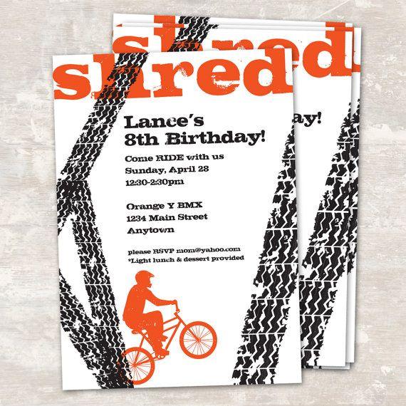BMX Bike Birthday Party Invitations set of 12 by paperandcake, $22.95