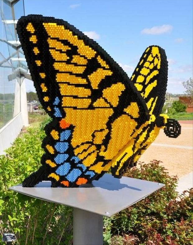 butterfly, made from legos.  Simply amazing images, definitely worth a click through to see them!! http://babypron.com/StarwarsMemorabila