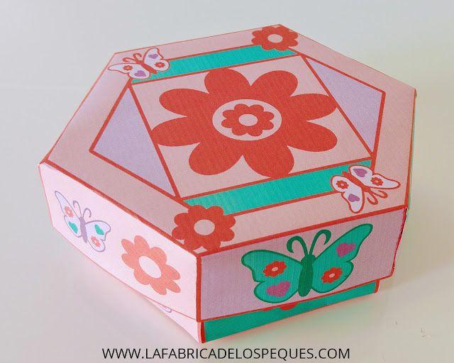 imprimibles gratis caja hexagonal